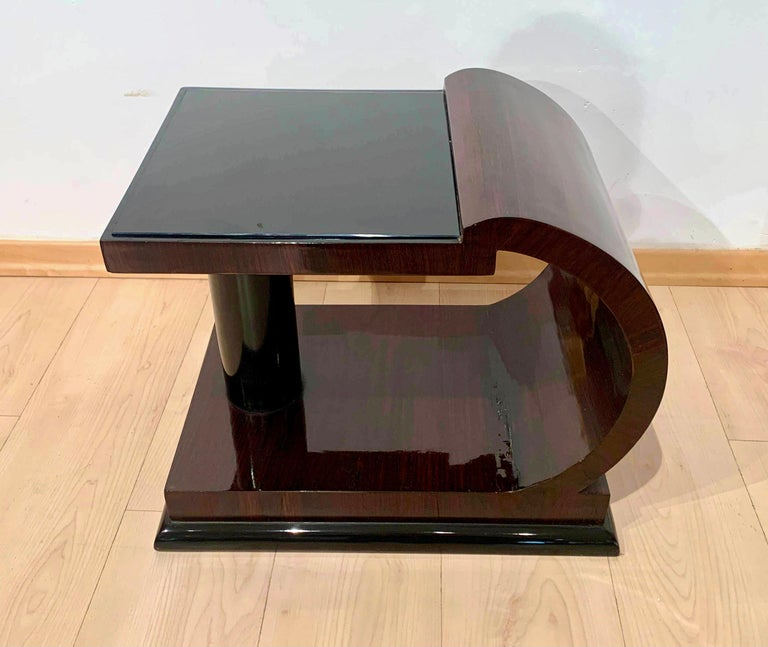 Blackened Art Deco Side Tables, Rosewood Veneer, Ebonized, Black Glass, France, circa 1930 For Sale