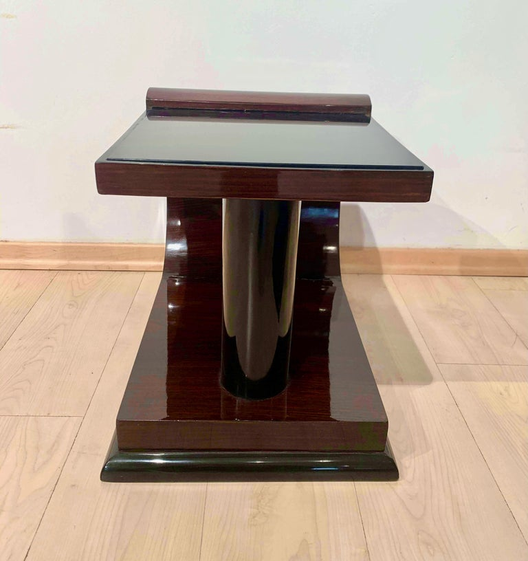 Mid-20th Century Art Deco Side Tables, Rosewood Veneer, Ebonized, Black Glass, France, circa 1930 For Sale