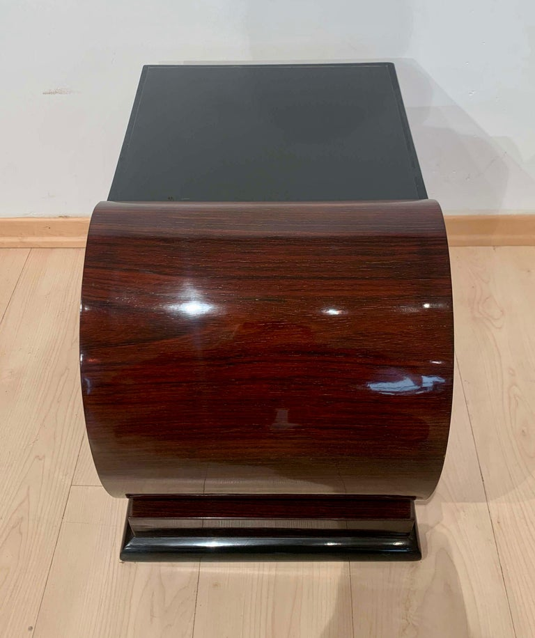 Softwood Art Deco Side Tables, Rosewood Veneer, Ebonized, Black Glass, France, circa 1930 For Sale