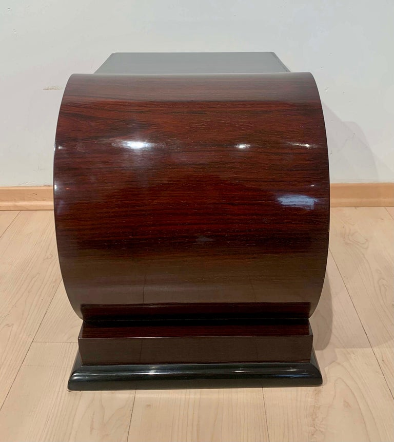 Art Deco Side Tables, Rosewood Veneer, Ebonized, Black Glass, France, circa 1930 For Sale 1