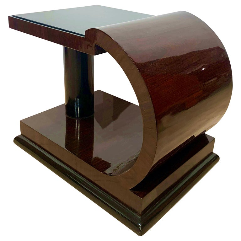 Art Deco Side Tables, Rosewood Veneer, Ebonized, Black Glass, France, circa 1930 For Sale