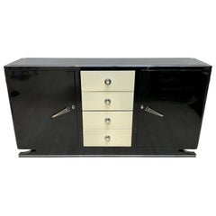 Art Deco Sideboard, Black and Creme Lacquer, France, circa 1930
