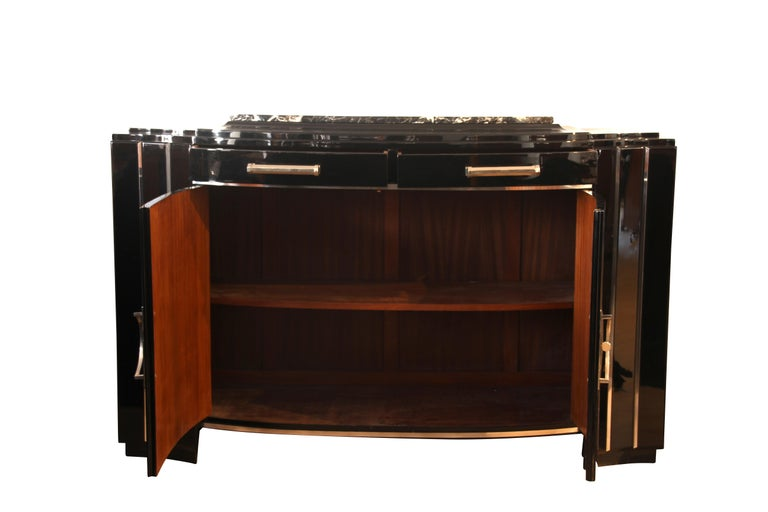 Art Deco Sideboard, Black Lacquer, France circa 1930 2