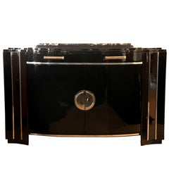 Art Deco Sideboard, Black Lacquer, France circa 1930