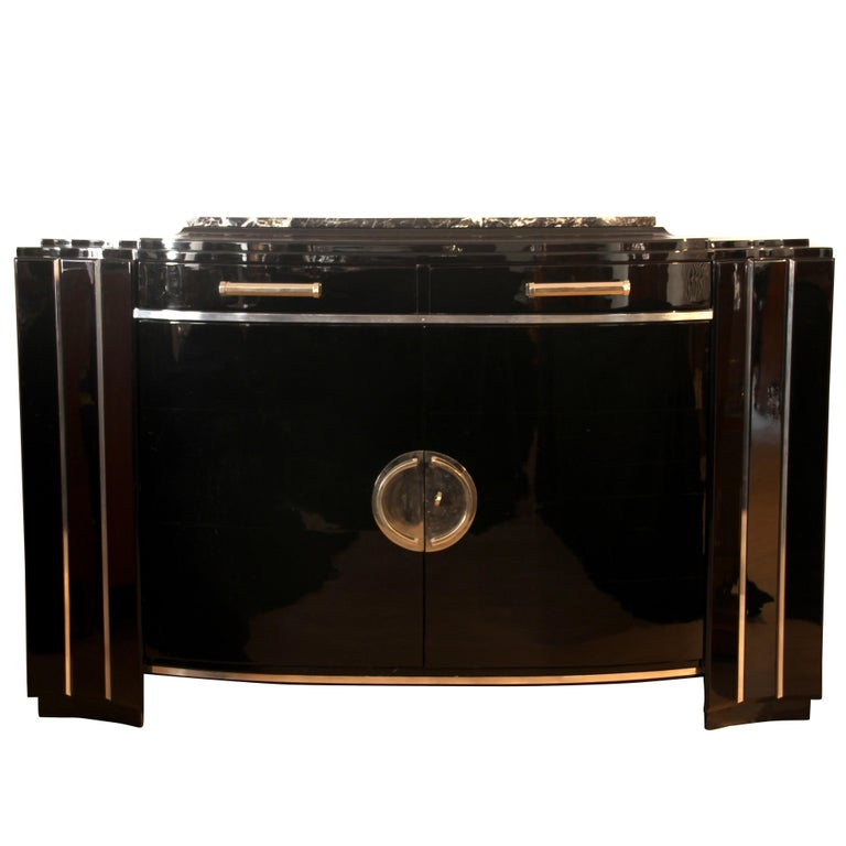 Art Deco Sideboard, Black Lacquer, France circa 1930 1