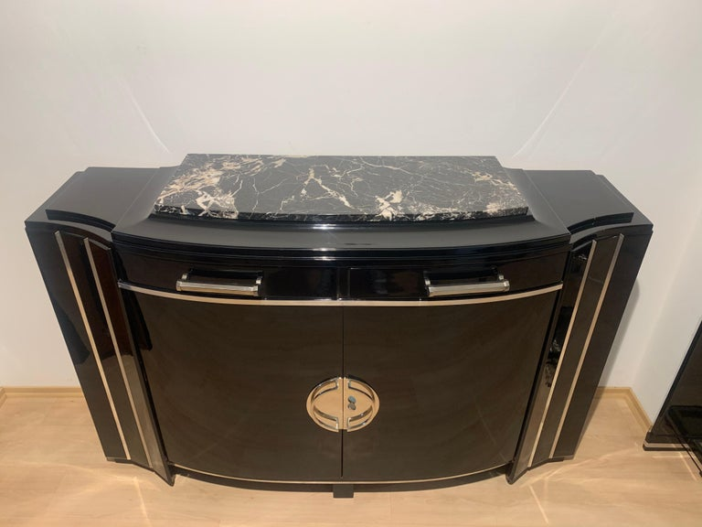 Mid-20th Century Art Deco Sideboard, Black Lacquer, Mahogany, Chrome, France, circa 1930 For Sale