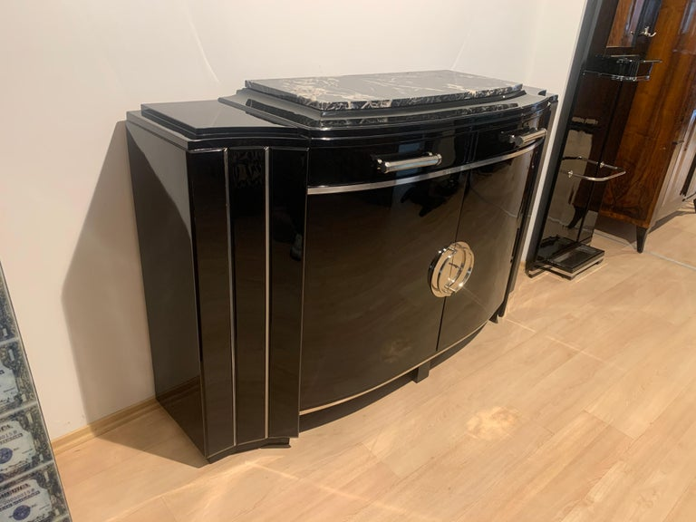 Metal Art Deco Sideboard, Black Lacquer, Mahogany, Chrome, France, circa 1930 For Sale
