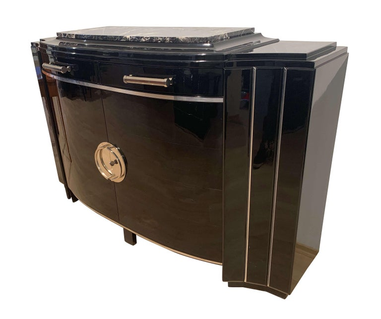 Blackened Art Deco Sideboard, Black Lacquer, Mahogany, Chrome, France, circa 1930 For Sale