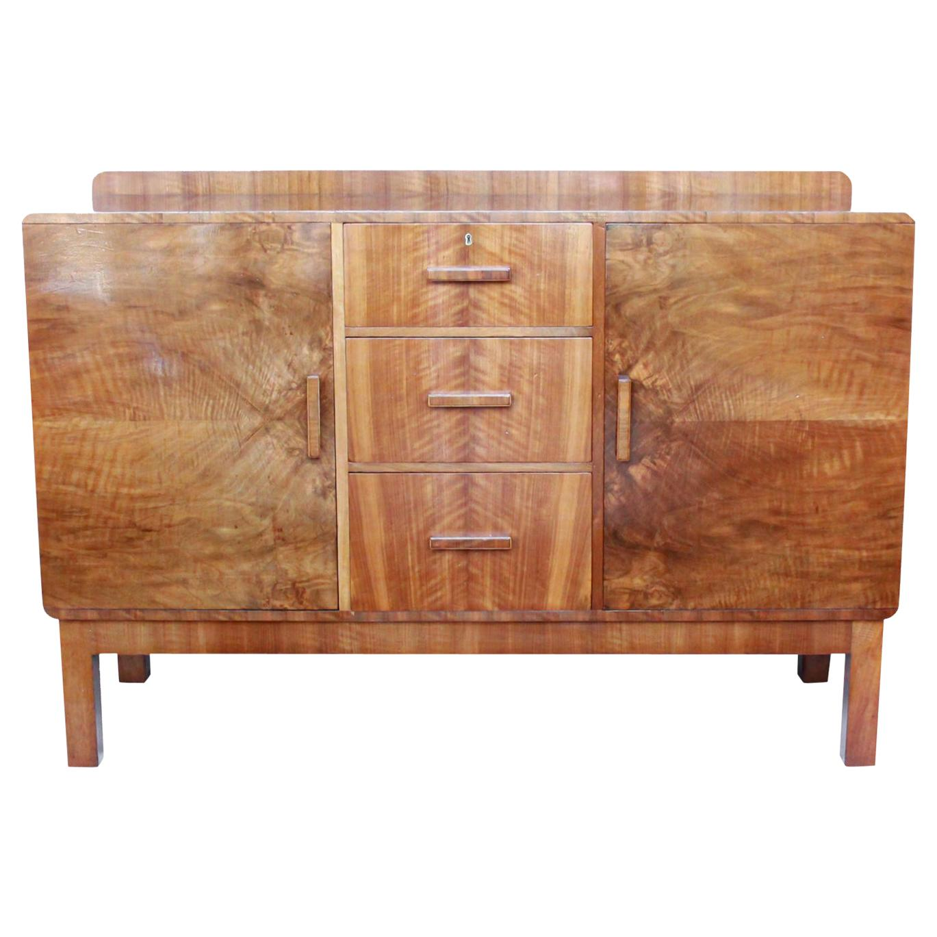 Art Deco Sideboard Burr and Straight Grain Walnut English Original 1930s