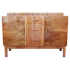 Art Deco Sideboard Burr and Straight Grain Walnut English Original, 1930s