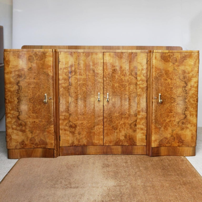 Mid-20th Century Art Deco Sideboard by Harry & Lou Epstein Burr & Figured Walnut, Circa 1935 For Sale