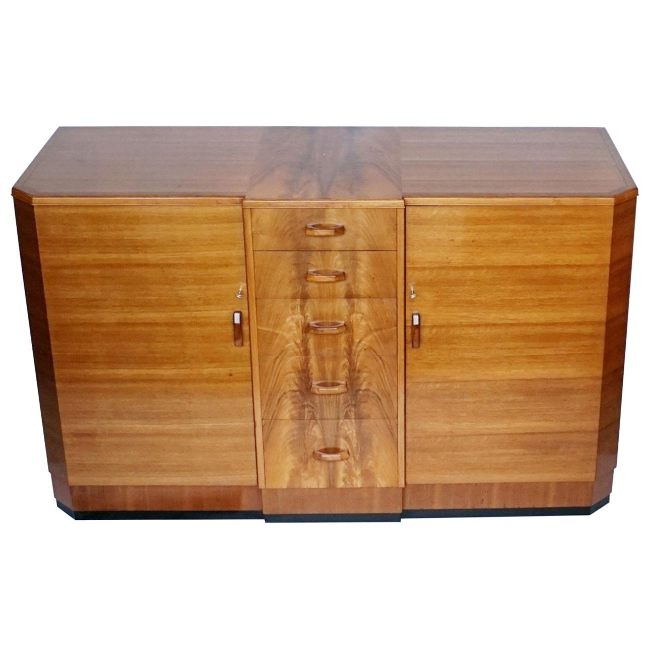 Art Deco Sideboard by Heal's of London circa 1930 Burr and Figured Walnut