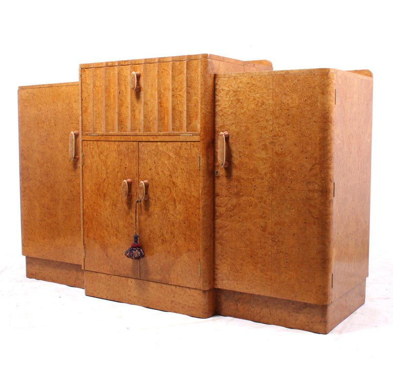 Mid-20th Century Art Deco Sideboard Cocktail in Burr Maple For Sale