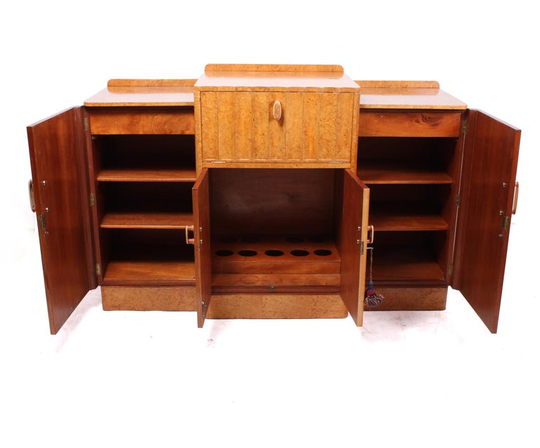 Art Deco Sideboard Cocktail in Burr Maple For Sale 3