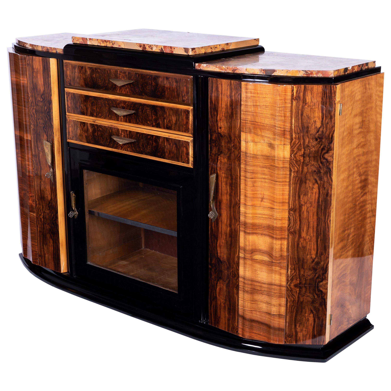 art deco sideboard bar nussbaum exotischer marmor und messingbeschlage bei 1stdibs