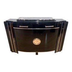 Art Deco Sideboard, Curved Front, Black, Mahogany and Chrome, France, circa 1930