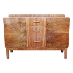 Art Deco Sideboard Burr and Straight Grain Walnut English Original 1930's