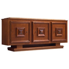 Art Deco Sideboard in Oak with Marble Top and Brass Details, 1930s