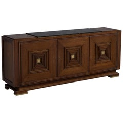 Art Deco Sideboard in Stained Oak with Marble Top