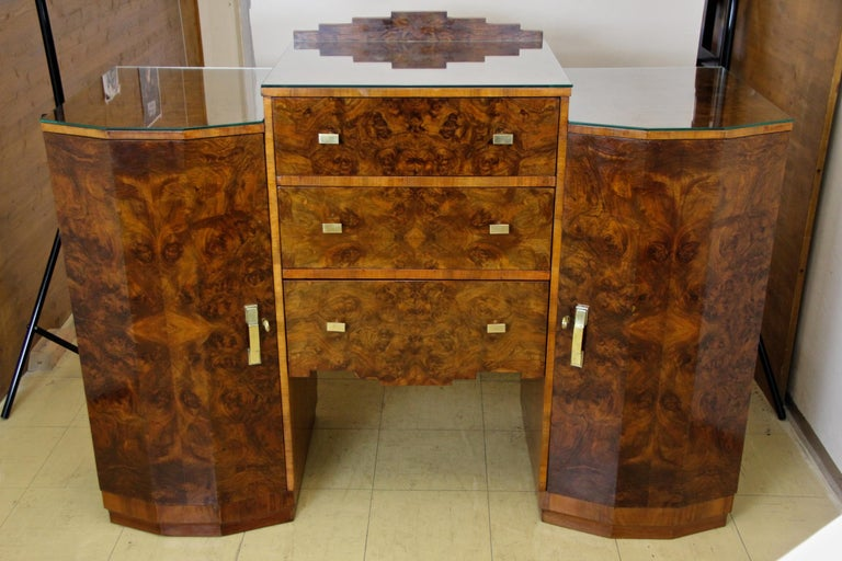Veneer Art Deco Sideboard or Buffet Burr Walnut Bookmatched, Austria, circa 1925 For Sale