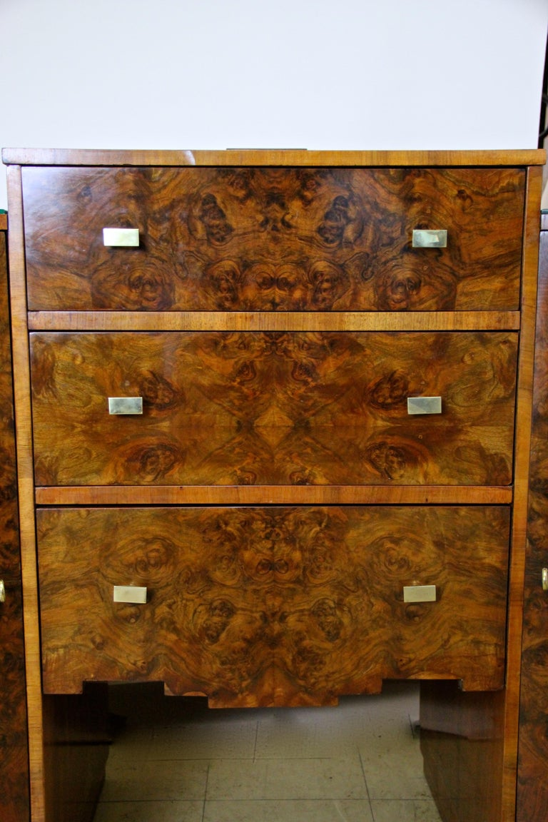 Art Deco Sideboard or Buffet Burr Walnut Bookmatched, Austria, circa 1925 For Sale 2