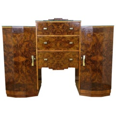 Art Deco Sideboard or Buffet Burr Walnut Bookmatched, Austria, circa 1925