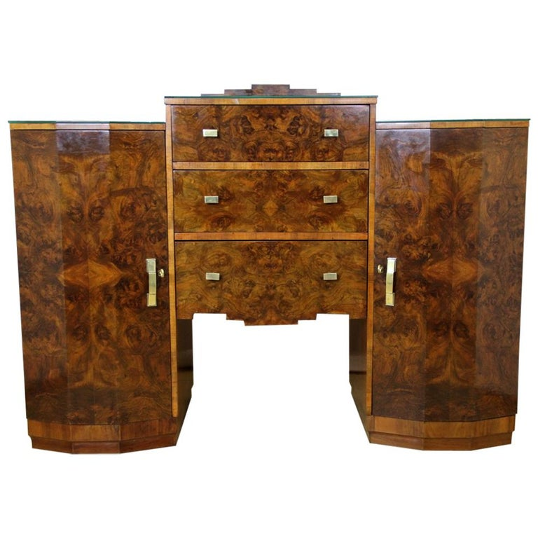 Art Deco Sideboard or Buffet Burr Walnut Bookmatched, Austria, circa 1925 For Sale