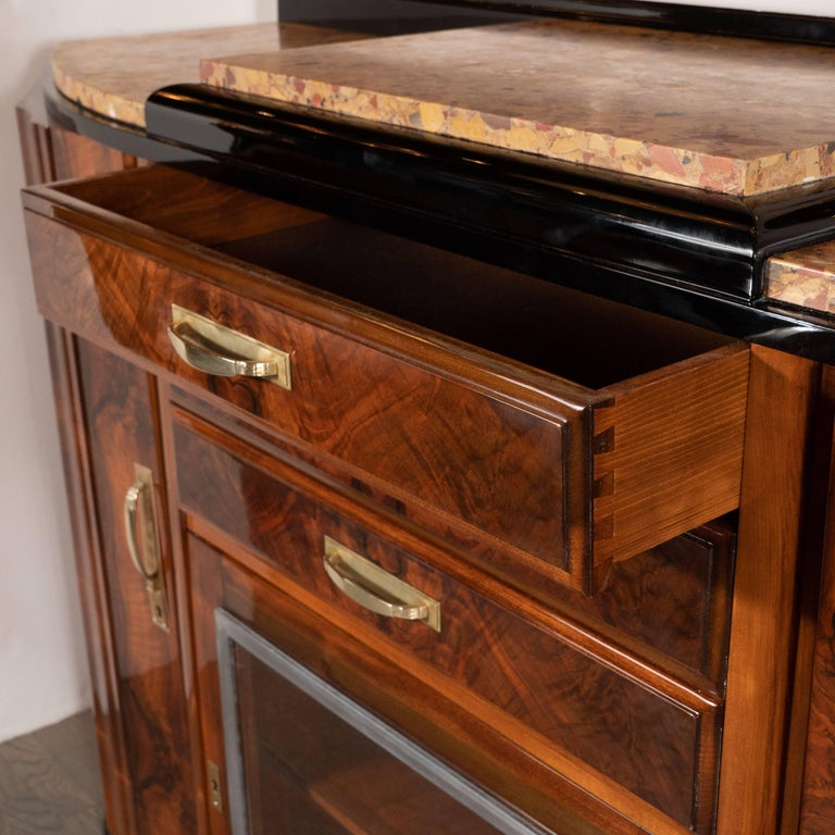 Art Deco Sideboard or Cabinet in Burled Walnut, Exotic Marble and Black Lacquer For Sale 5