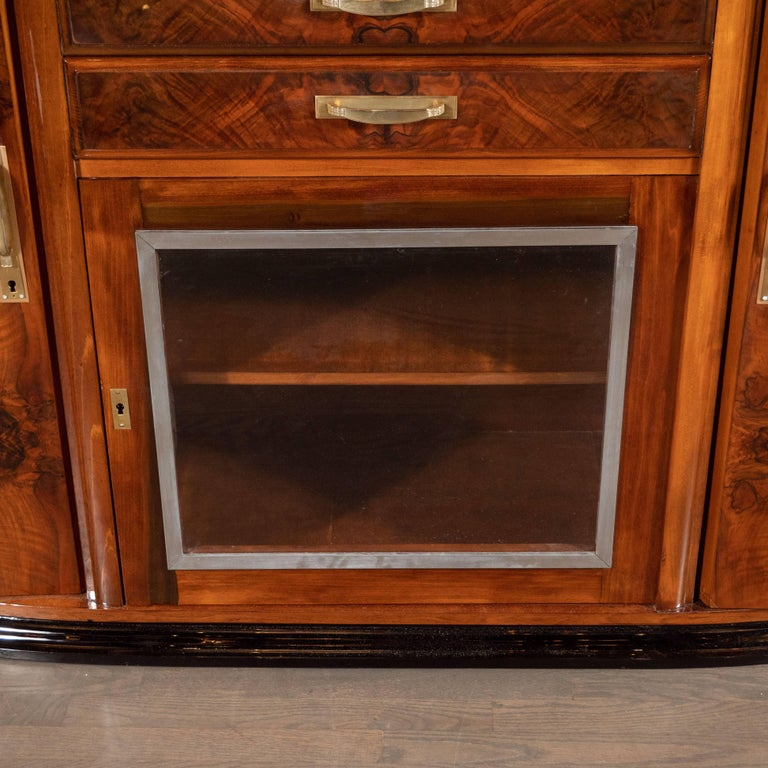 French Art Deco Sideboard or Cabinet in Burled Walnut, Exotic Marble and Black Lacquer For Sale