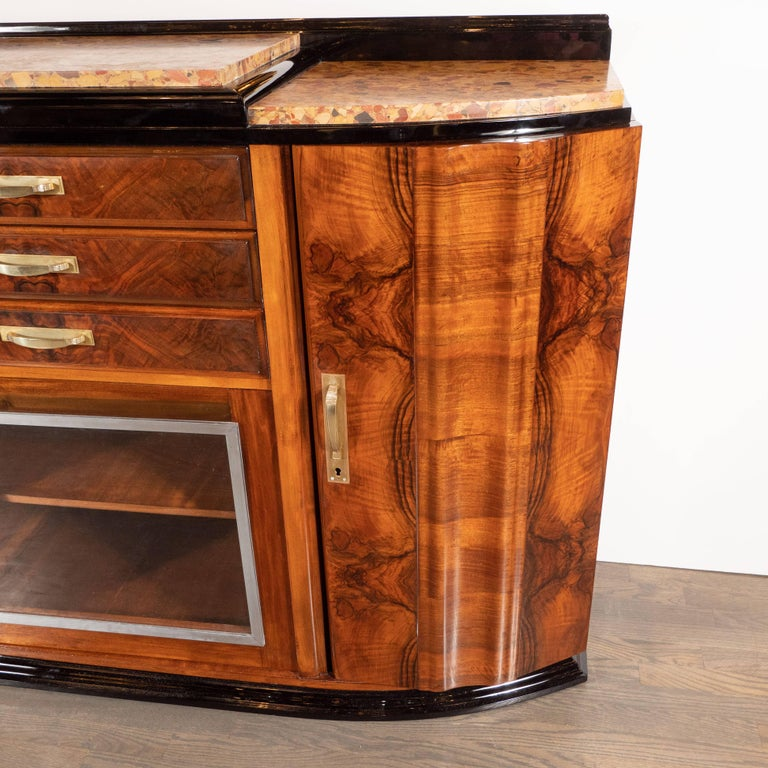 Art Deco Sideboard or Cabinet in Burled Walnut, Exotic Marble and Black Lacquer In Excellent Condition For Sale In New York, NY