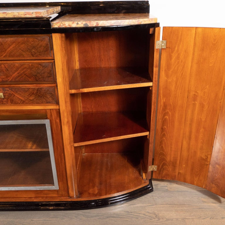 Mid-20th Century Art Deco Sideboard or Cabinet in Burled Walnut, Exotic Marble and Black Lacquer For Sale