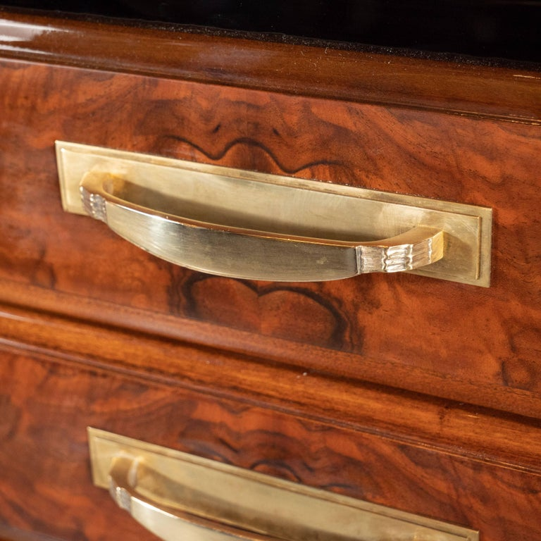 Art Deco Sideboard or Cabinet in Burled Walnut, Exotic Marble and Black Lacquer For Sale 1