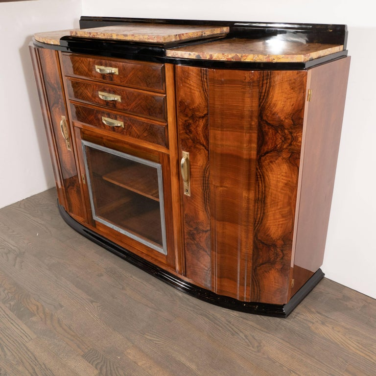 Art Deco Sideboard or Cabinet in Burled Walnut, Exotic Marble and Black Lacquer For Sale 2