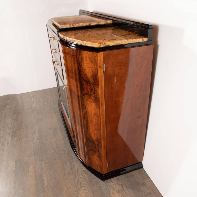 Art Deco Sideboard or Cabinet in Burled Walnut, Exotic Marble and Black Lacquer For Sale 3