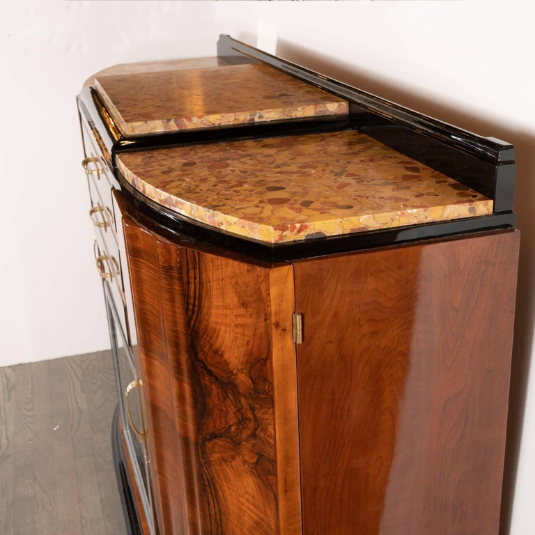 Art Deco Sideboard or Cabinet in Burled Walnut, Exotic Marble and Black Lacquer For Sale 4