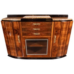 Art Deco Sideboard or Cabinet in Burled Walnut, Exotic Marble and Black Lacquer