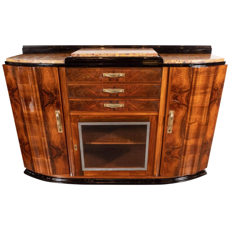 Art Deco Sideboard or Cabinet in Burled Walnut, Exotic Marble and Black Lacquer For Sale
