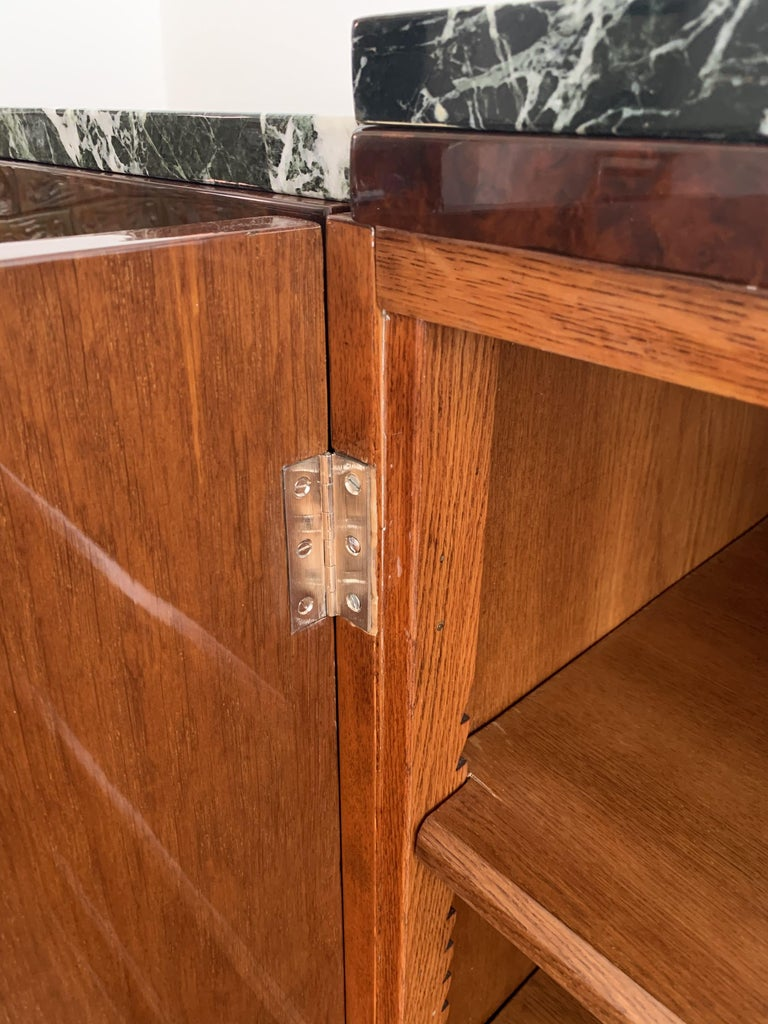 Art Deco Sideboard, Walnut Roots, Green Marble, Southern France, circa 1930 For Sale 10