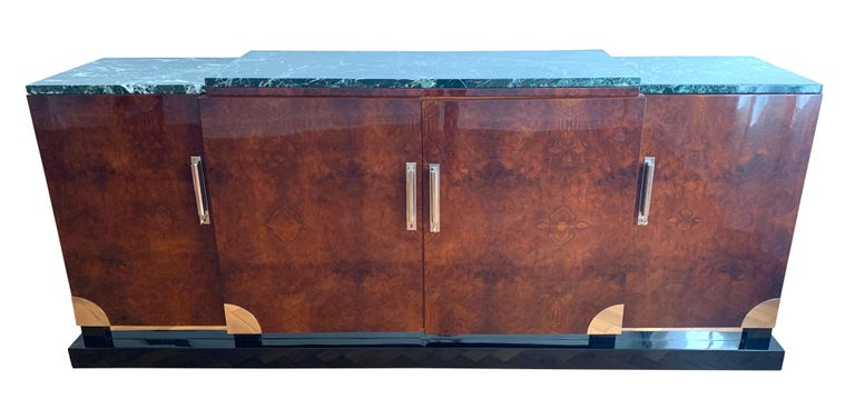 French Art Deco Sideboard, Walnut Roots, Green Marble, Southern France, circa 1930 For Sale
