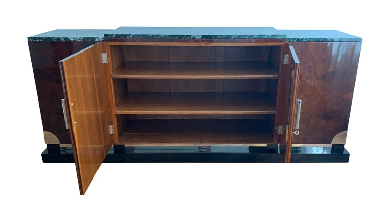 Galvanized Art Deco Sideboard, Walnut Roots, Green Marble, Southern France, circa 1930 For Sale