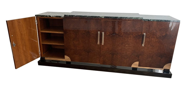 Art Deco Sideboard, Walnut Roots, Green Marble, Southern France, circa 1930 In Good Condition For Sale In Regensburg, DE