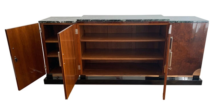Mid-20th Century Art Deco Sideboard, Walnut Roots, Green Marble, Southern France, circa 1930 For Sale