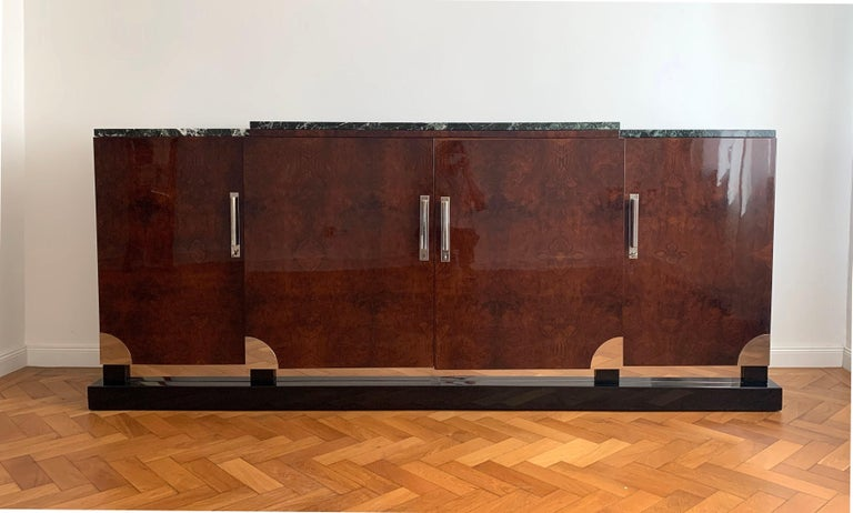 Chrome Art Deco Sideboard, Walnut Roots, Green Marble, Southern France, circa 1930 For Sale