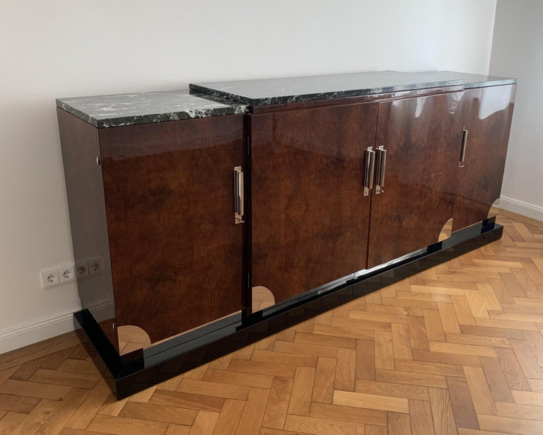 Art Deco Sideboard, Walnut Roots, Green Marble, Southern France, circa 1930 For Sale 1