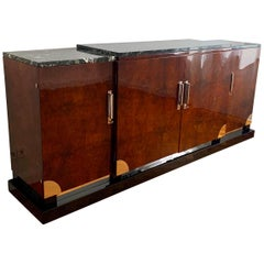 Art Deco Sideboard, Walnut Roots, Green Marble, Southern France, circa 1930