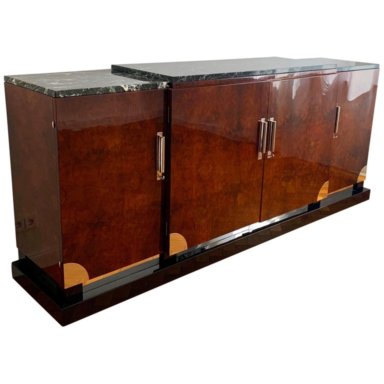 Art Deco Sideboard, Walnut Roots, Green Marble, Southern France, circa 1930 For Sale