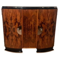 Art Deco Sideboard, Walnut Veneer, Chrome and Black, France, circa 1930