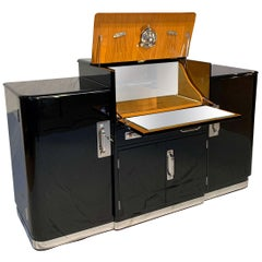 Art Deco Sideboard with Fold-Up Bar, Black Piano Lacquer, England, circa 1930s