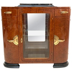 Art Deco Sideboard with Mirror, Amboyna and Bronze, France, circa 1925