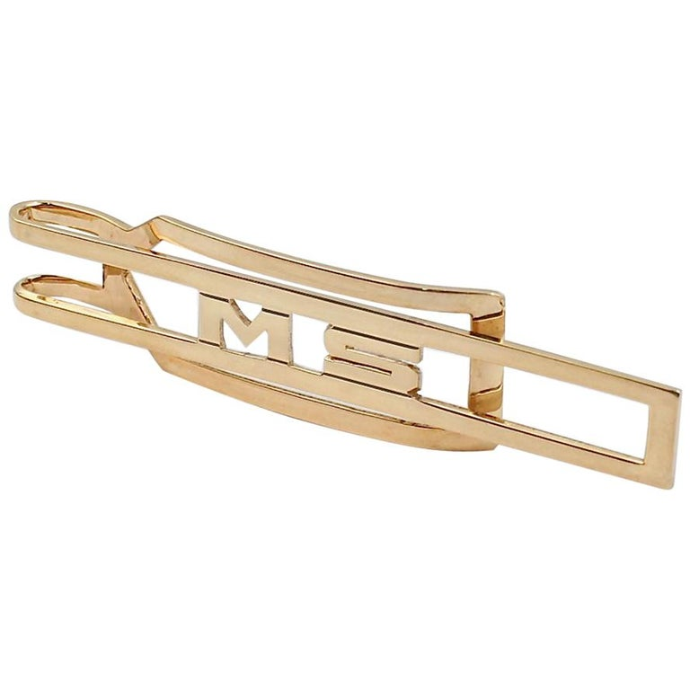 "Art Deco Signed Cartier 14 Karat ""MS"" Gold Tie Bar or Tie Clip For Sale"
